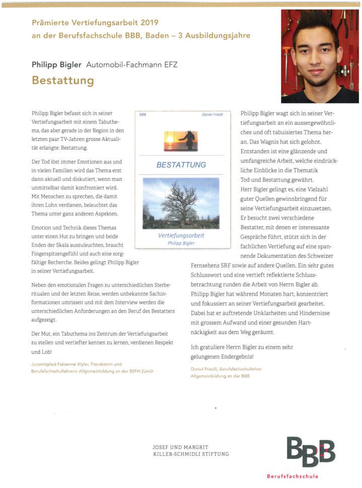 2019 Praemierung Vertiefungsarbeit Bigler Philipp Mit Bild 19 04 10