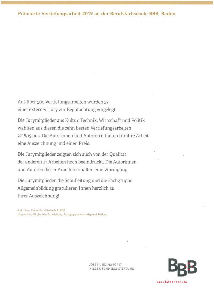 2019 Praemierung Vertiefungsarbeiten Bbb Berufsfachschule Baden 19 04 10